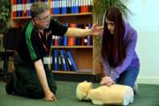Learning how to perform CPR is Holy Family student Natalie Eastwood, pictured with St John Ambulance rep Dave Edmondson