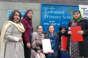 From left, Keighley Central ward councillor Kaneez Akhtar, family centre manager Zaibun Khan, parent governor Naheed Siddique, acting head teacher Suzanne Carter, parent governor Hamida Bi and parent Mahfooz Bibi