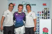 Ethan Lawrie with England Women's World Cup winners  Emily Scarratt and Sarah Hunter