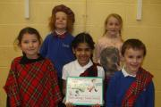 Some of the Eastburn pupils get into the spirit of the Scottish Day