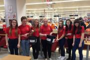 Oakbank School students picture during their bag pack in Sainsbury's, from left Mia Themistocleous, Megan Holgate, Grace Horton, Ella Gill, Kayleigh Crichton, Ffion Myers and Elizabeth Crossley