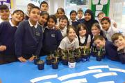 Some of the Parkwood pupils with their pots
