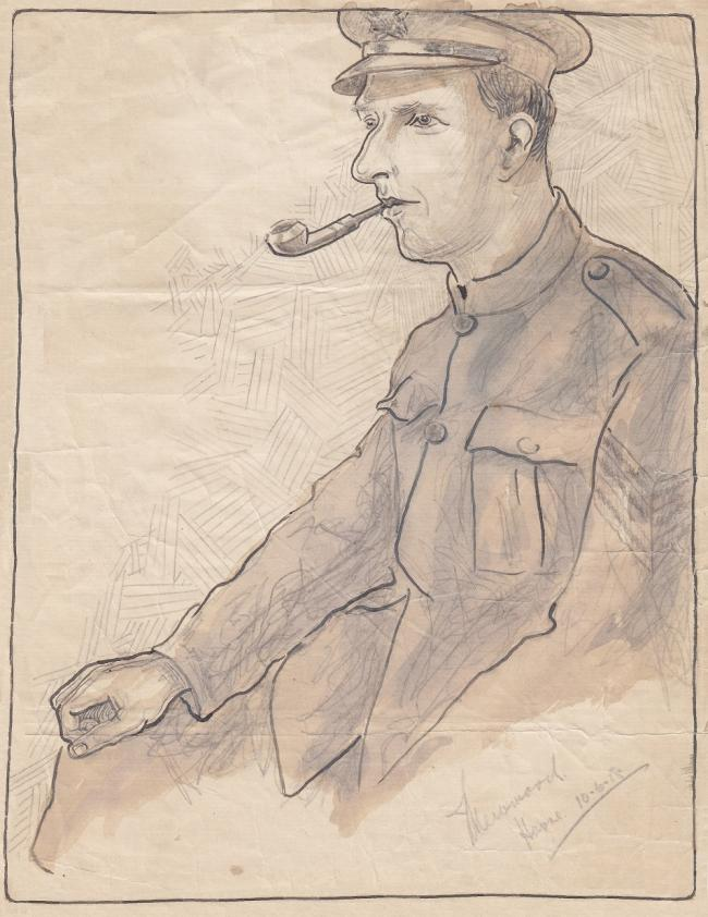Sgt William Bottomley in a sketch by one of his comrades during their time in the trenches