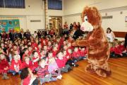Katie Bear takes part in a special assembly at Cononley Primary School