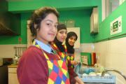Holy Family students help with washing up at the Keighley Lent lunches