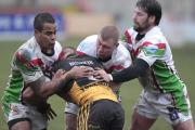 Paul March, pictured centre in action against York, takes Cougars to Hemel Stags on Sunday in the first meeting between the clubs