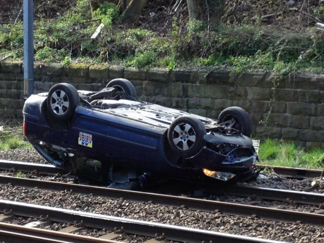 UPDATE Rail services resume after car crashes onto tracks | Keighley ...