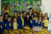 Haworth Primary School children with the results of their Easter baking