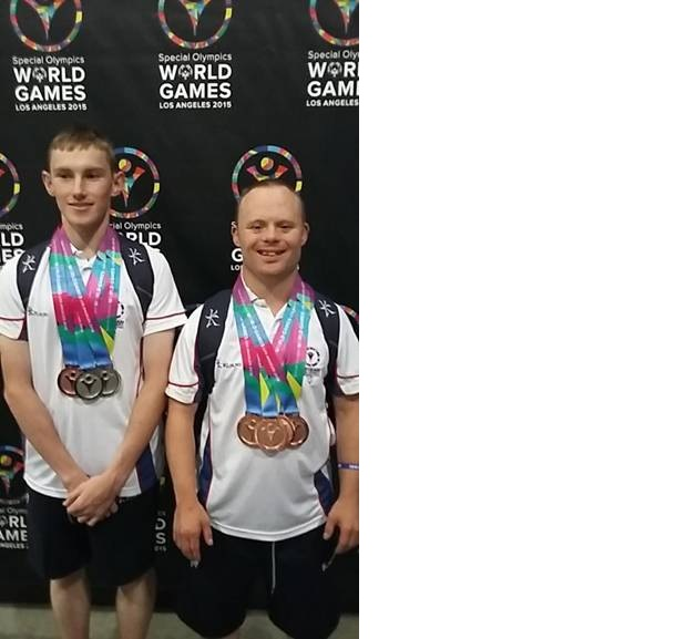 James Crossley, left, and Chris Woodhead with their Los Angeles Special Olympics medals