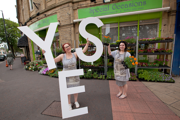 "Helen Roddis, left, and Sophie Deardon from The Flower Shop in North Street are among those saying ""yes"" to Keighley's Business Improvement District campaign"