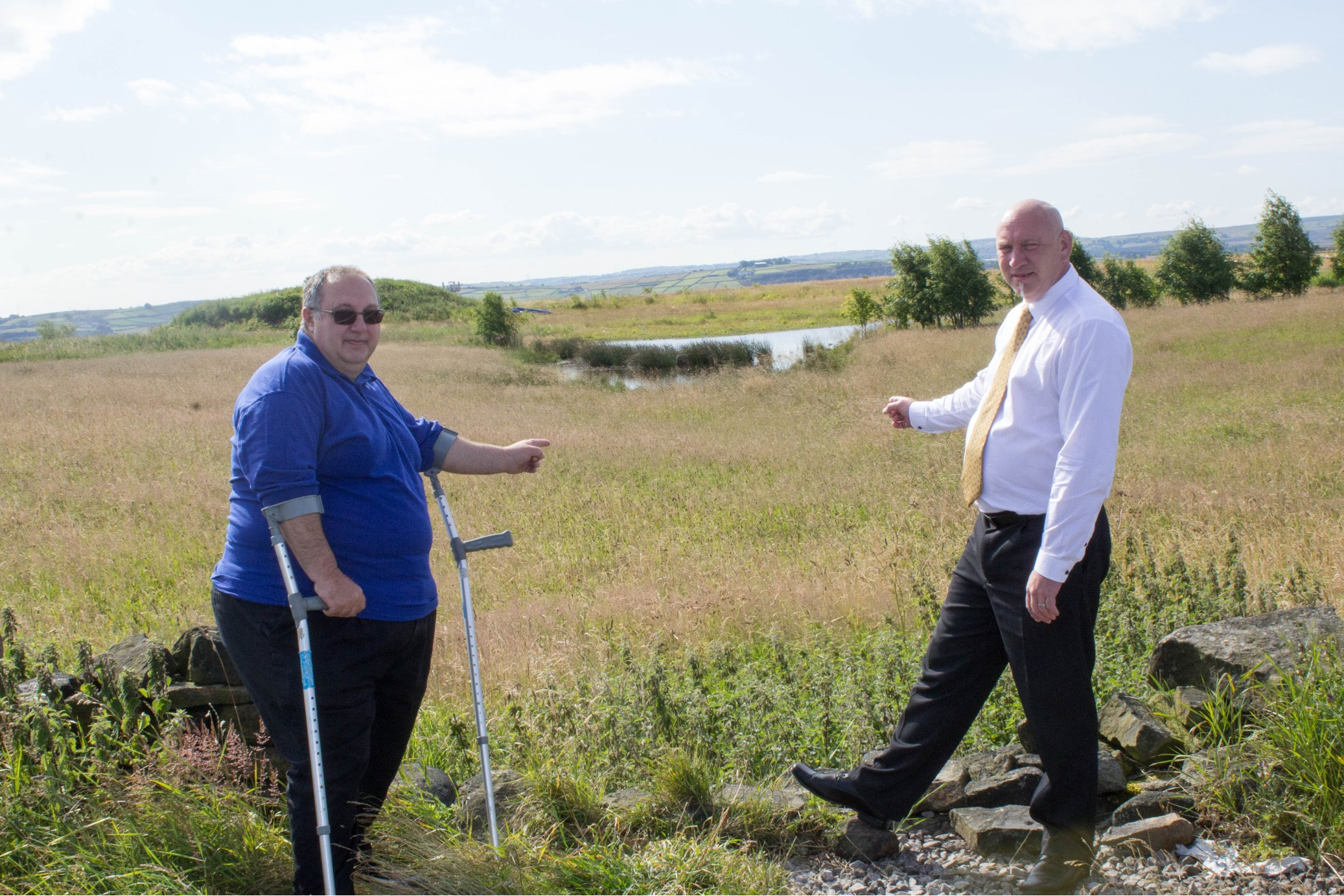 From left, Keighley town councillors George Firth and Ian Dermondy at the site earmarked for a new cemetery which has now been approved by Bradford Council