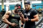 Charlie Martin, right, with bodybuilding champion Azeez Salu