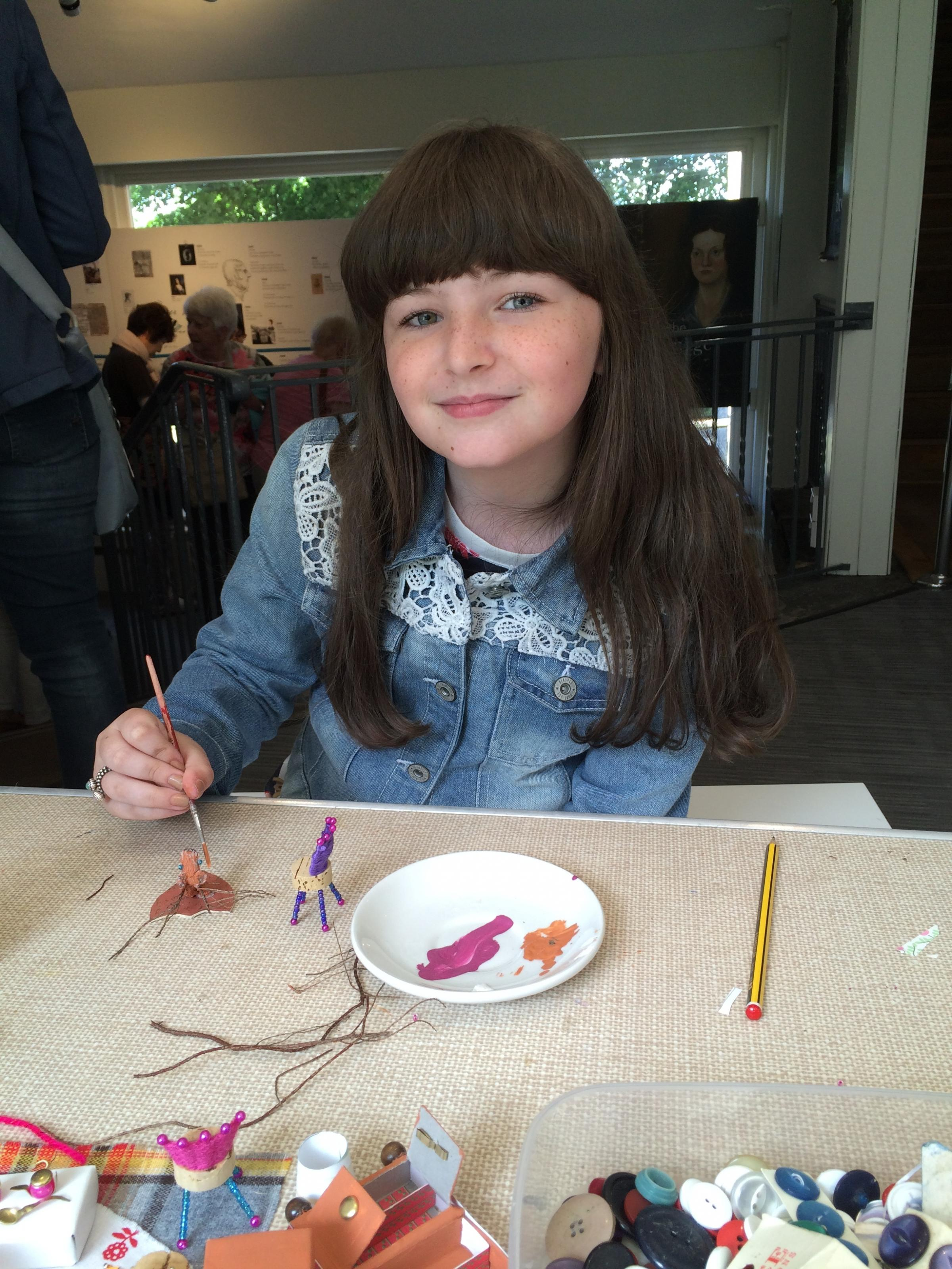 Amelia Kerr, a young visitor to the Brontë Parsonage Museum in Haworth, who took part in a previous Wild Wednesdays workshop