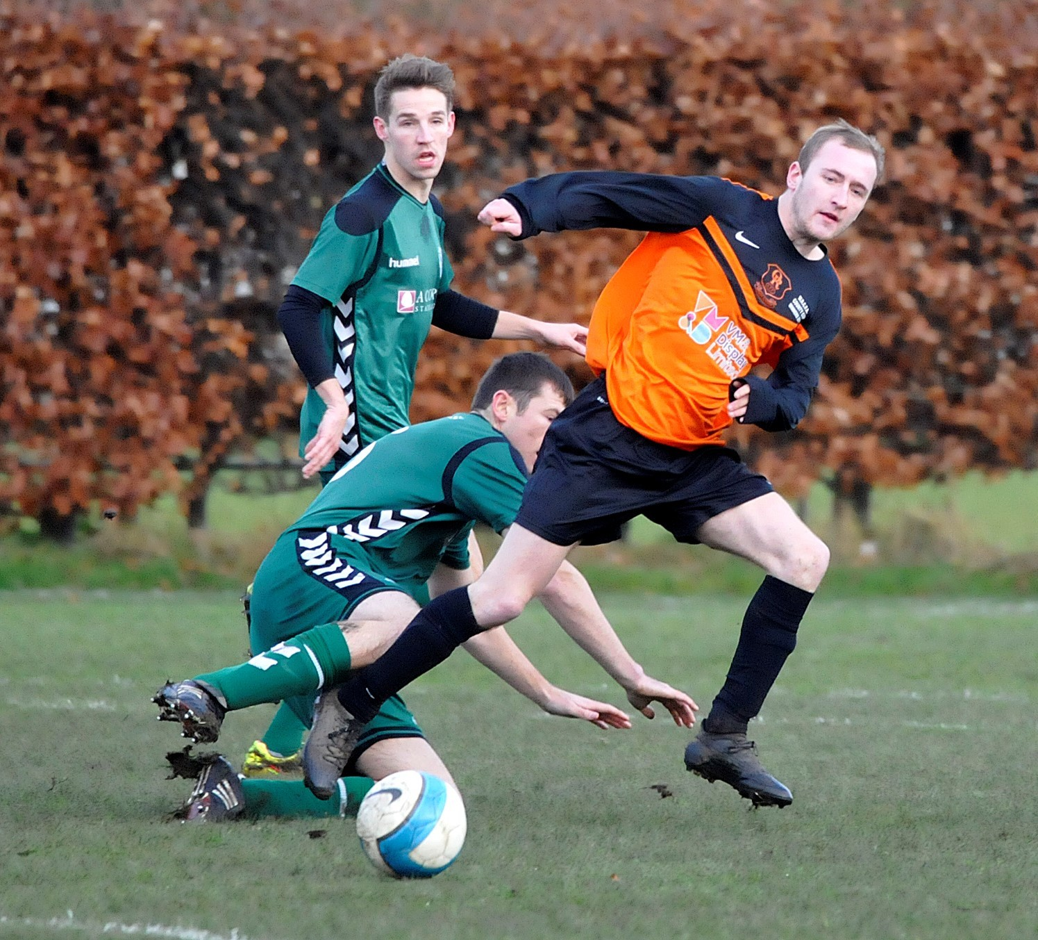 Tom Marshall, right, scored twice for Oxenhope Recreation against Cross Hills