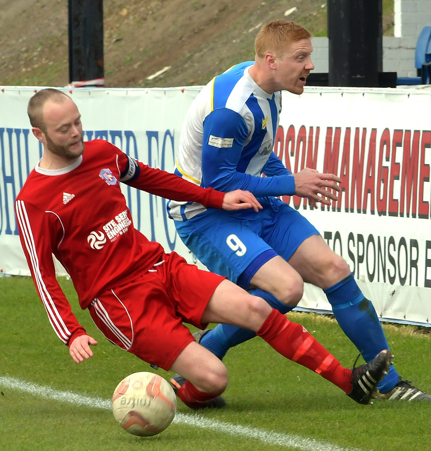 Matt Mathers, right, netted Eccleshill United's last-minute winner at Grimsby Borough