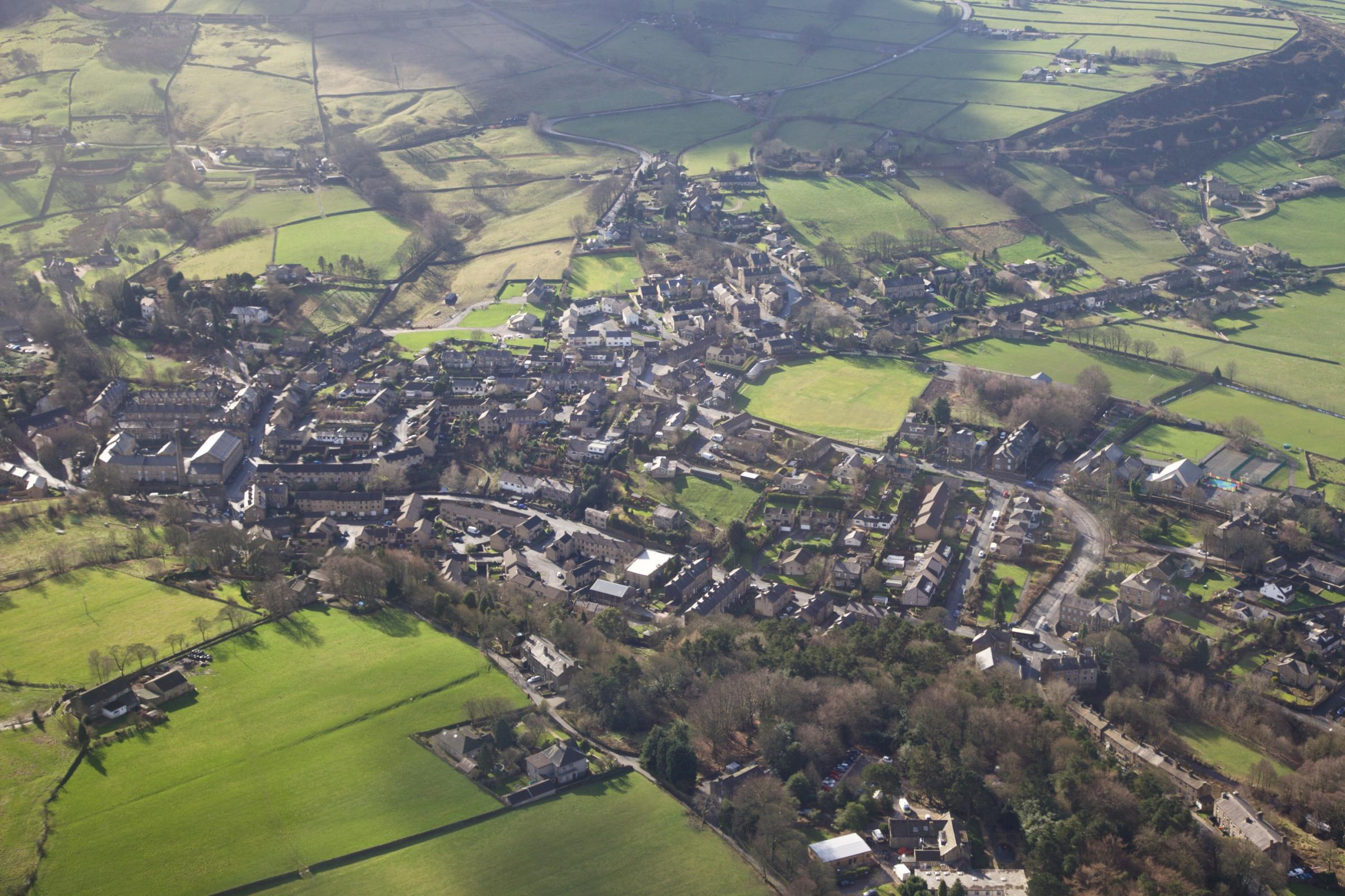 An aerial view of Oxenhope