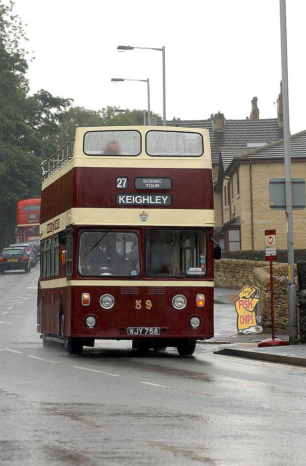 An open-top bus from Keighley Bus Museum