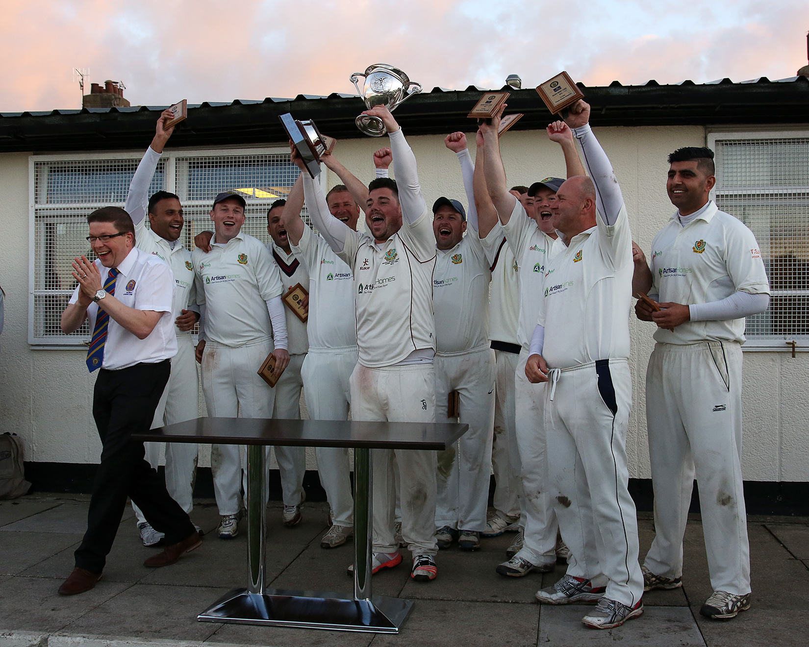 The departure of Jer Lane, seen celebrating their 2015 Premier Division title, to the Bradford League is one reason for the reshuffle in the Spenser Wilson Halifax League Picture: Alex Daniel Photography