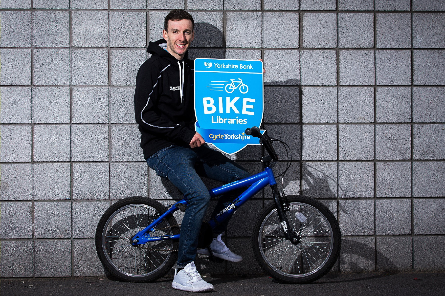 British road and track racing cyclist Adam Yates, who has supported the Yorkshire Bank bike library scheme.