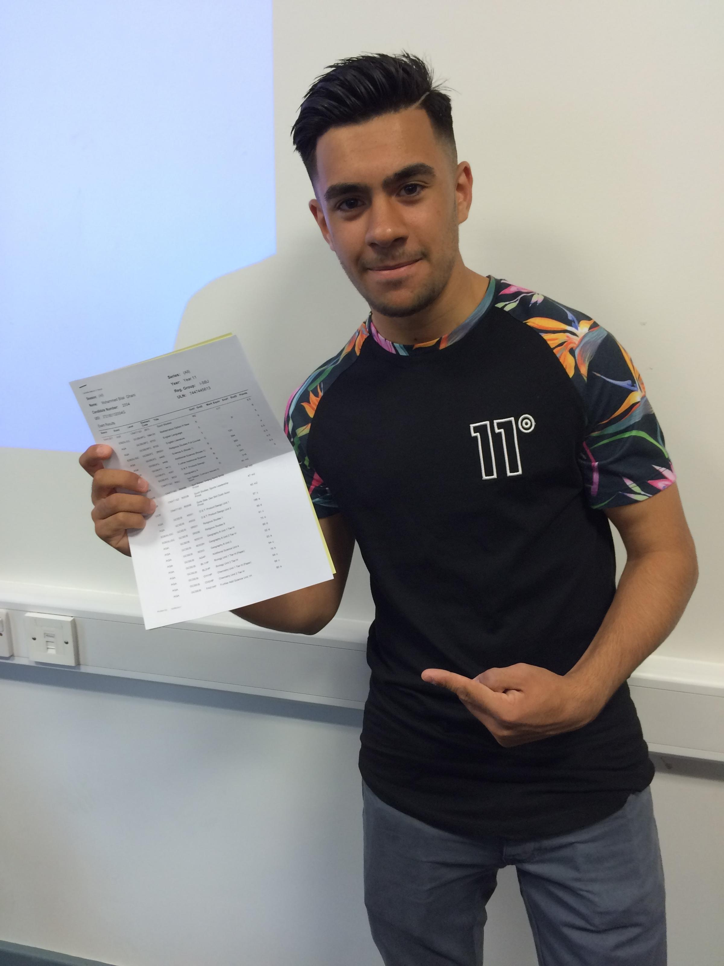 University Academy Keighley student Bilal Ghani worked hard at his GCSEs to impress his mother