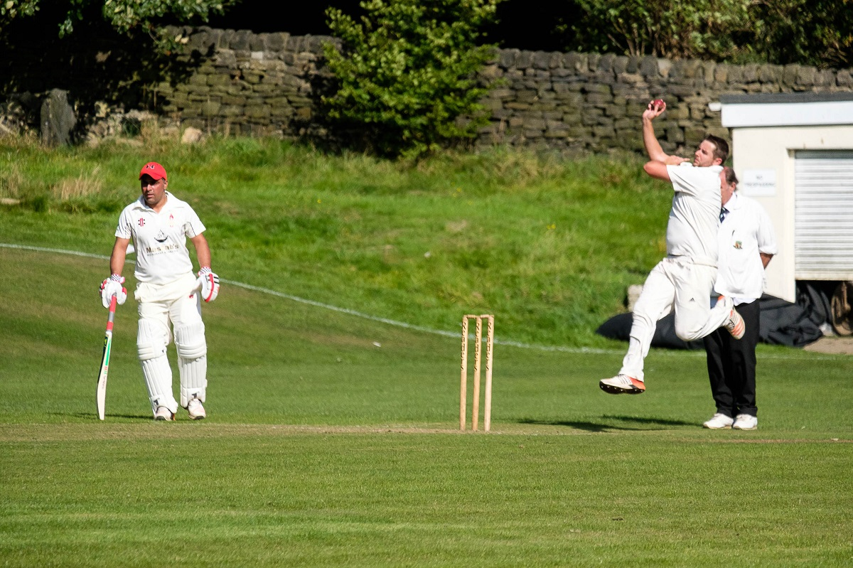 Thackley's Danny McGuire bowling at home to Skipton last Saturday Picture: Phil Jackson