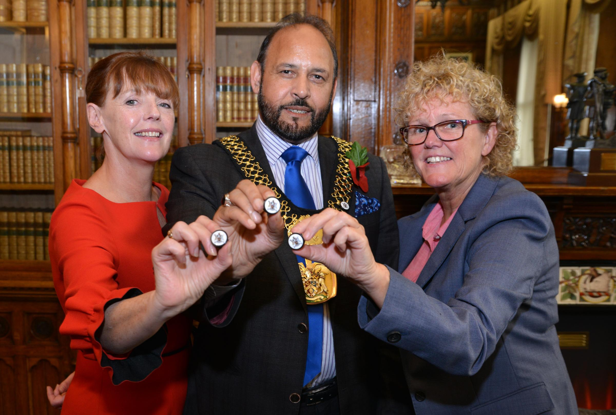 From left, Mary Armitage, Lord Mayor of Bradford Councillor Abid Hussain and Jacqui Smith