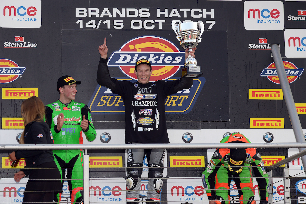 Keith Farmer, of Team Appleyard Macadam Racing, with his British Supersport Championship trophy