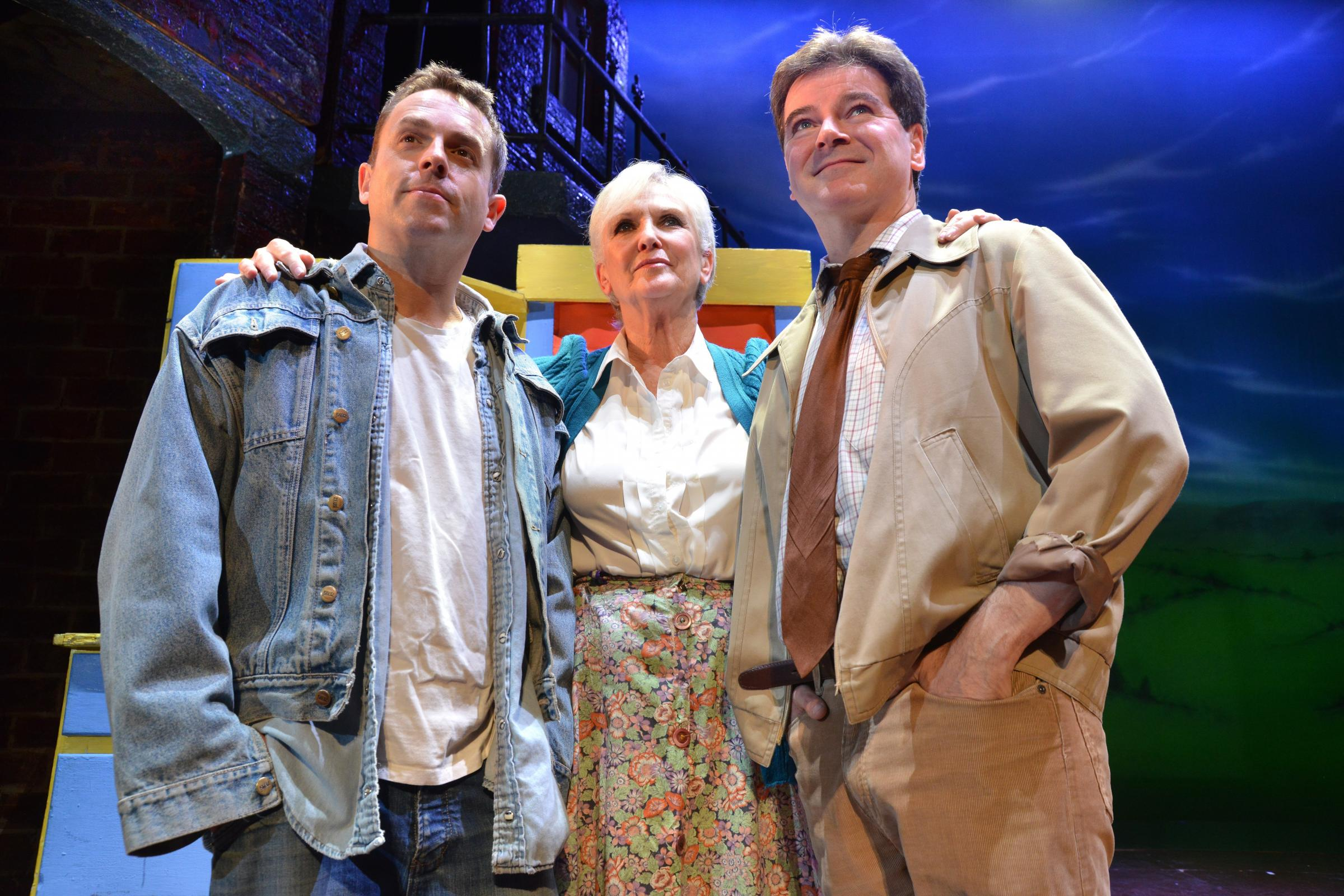 Sean Jones, Lynn Paul, and Mark Hutchinson, the cast of Blood Brothers at the Alhambra