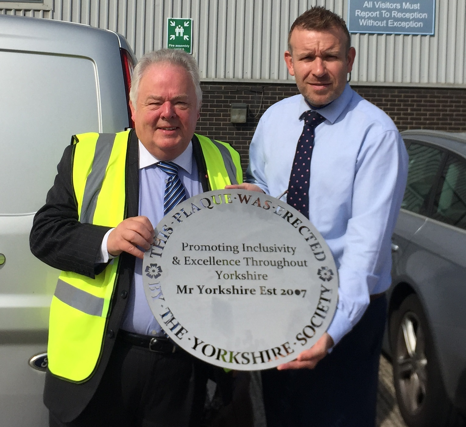 Keith Madeley, left, Yorkshire Society chairman, and Jamie Sharp, director of MTL Advanced Ltd which is producing the plaques