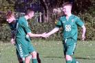 Steeton under-18s celebrate a goal in their win over Menston   Picture: John Chapman