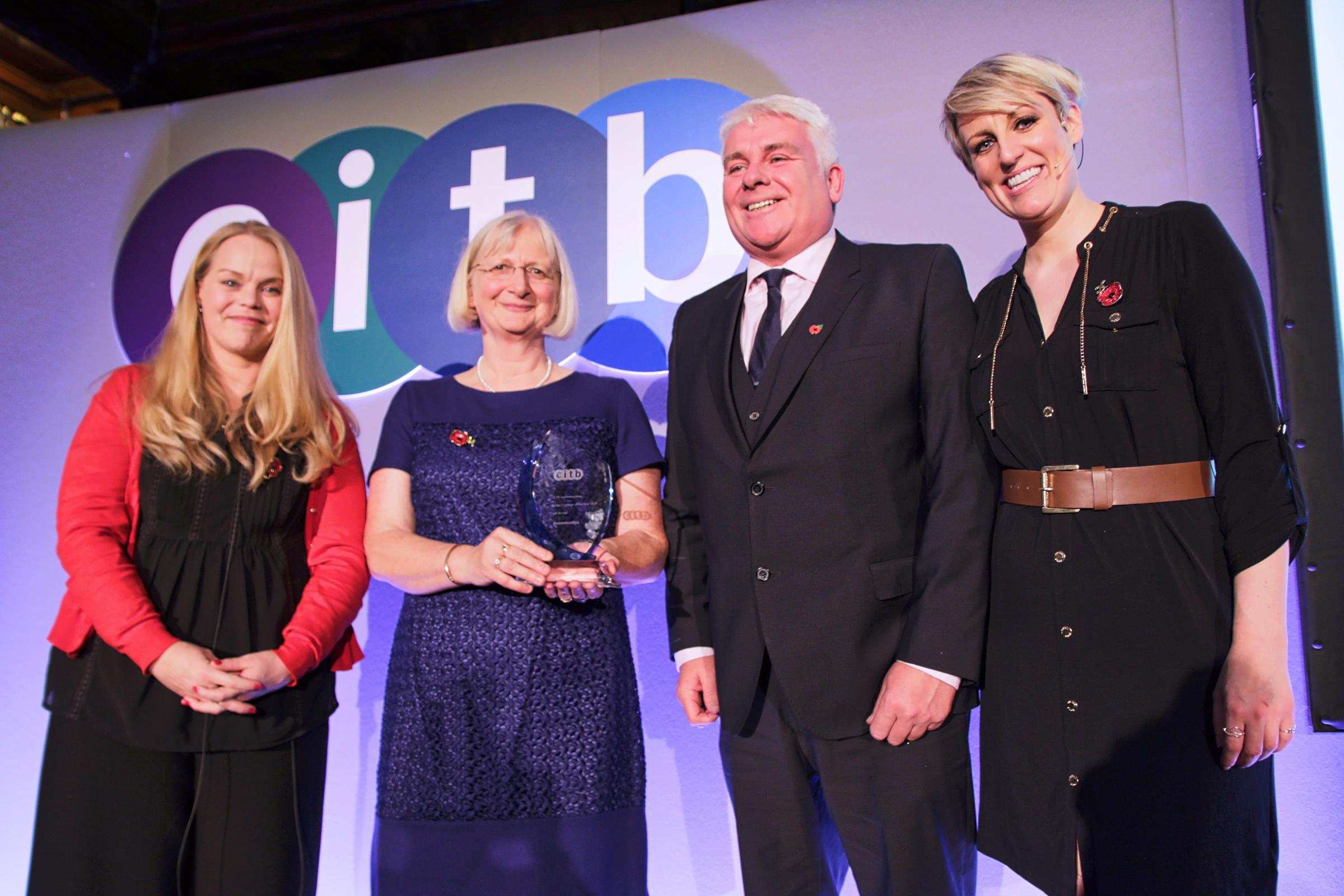 From left, the CITB's Sarah Beale, Susan Laycock and Tony Thompson from Incommunities and Steph McGovern