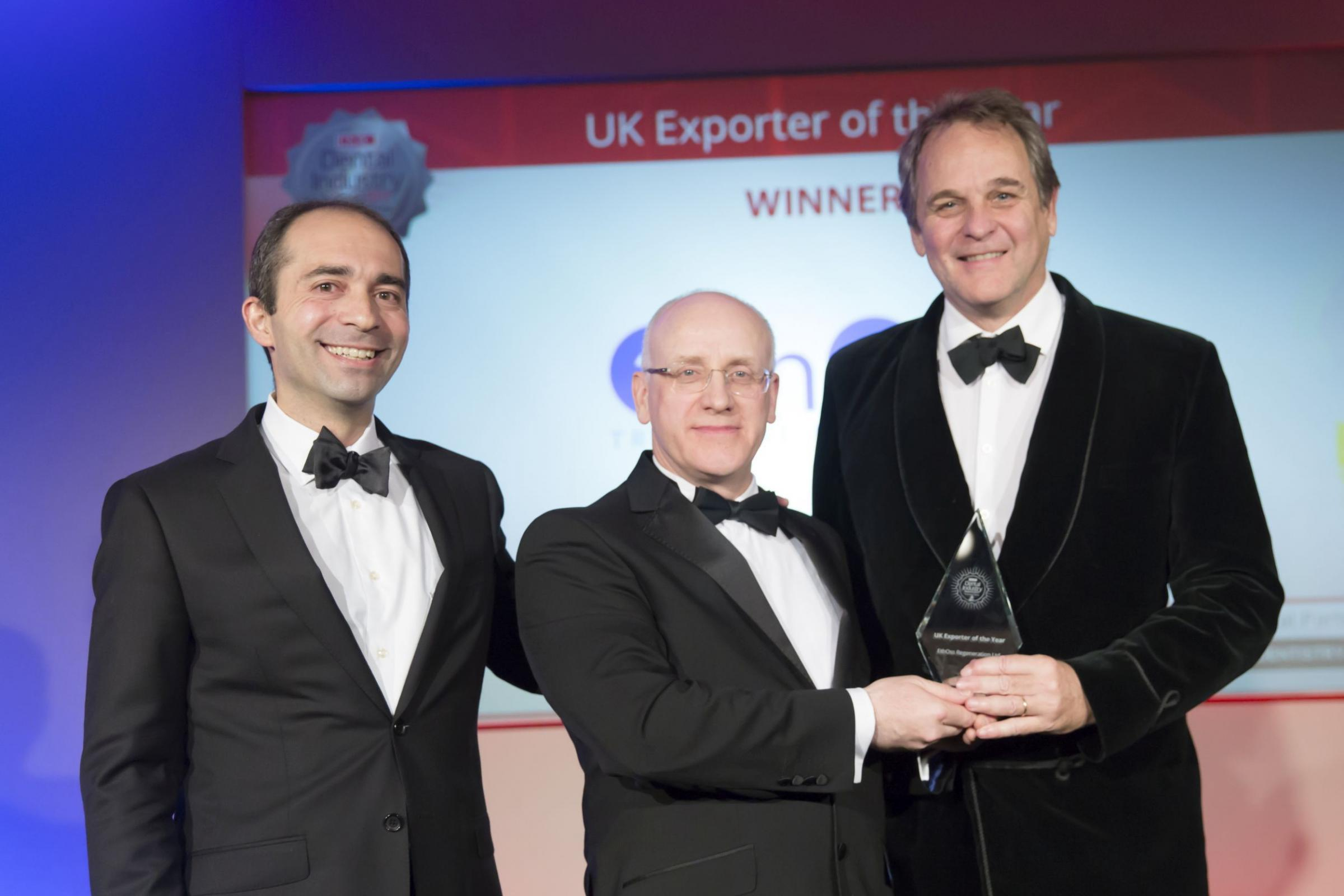 The EthOss Regeneration Ltd team receives its Exporter of the Year accolade at the Dental Industry Awards