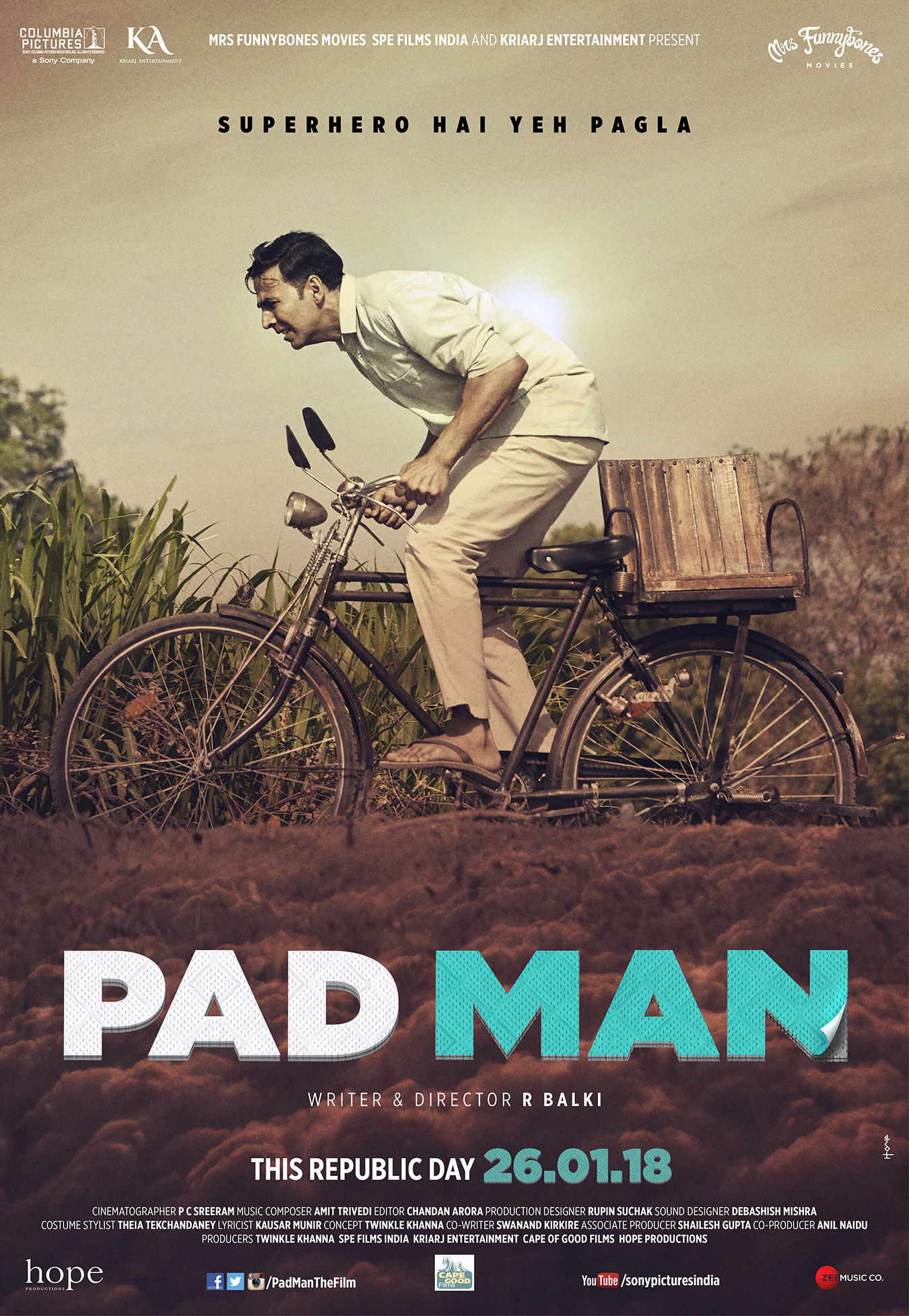 "NOT YOUR AVERAGE SUPERHERO FILM! HERE'S PRESENTING THE MOST PROGRESSIVE FAMILY ENTERTAINER ""PAD MAN"""