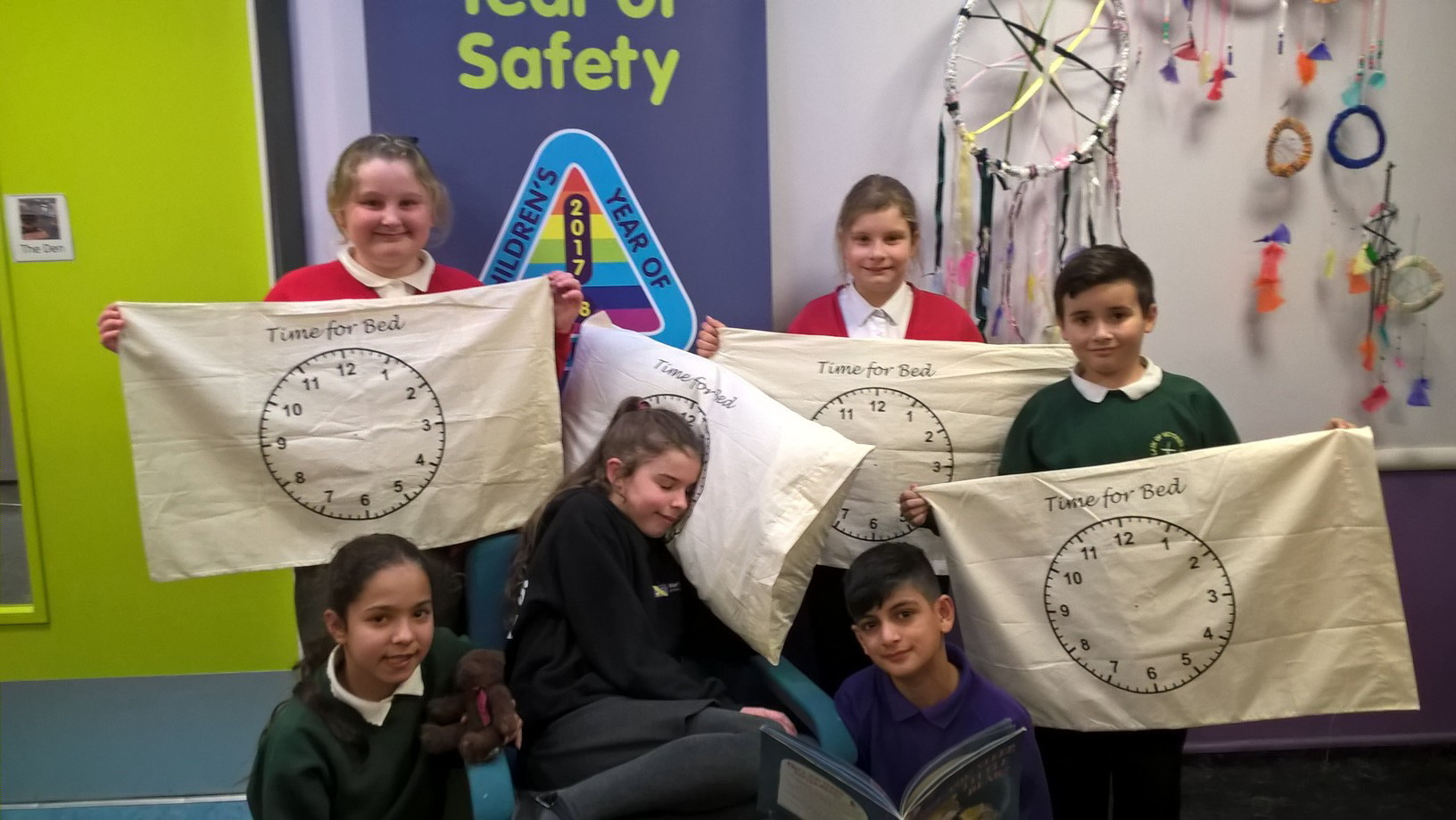 Youngsters with pillowcases donated by Damart, as part of the bedtime theme