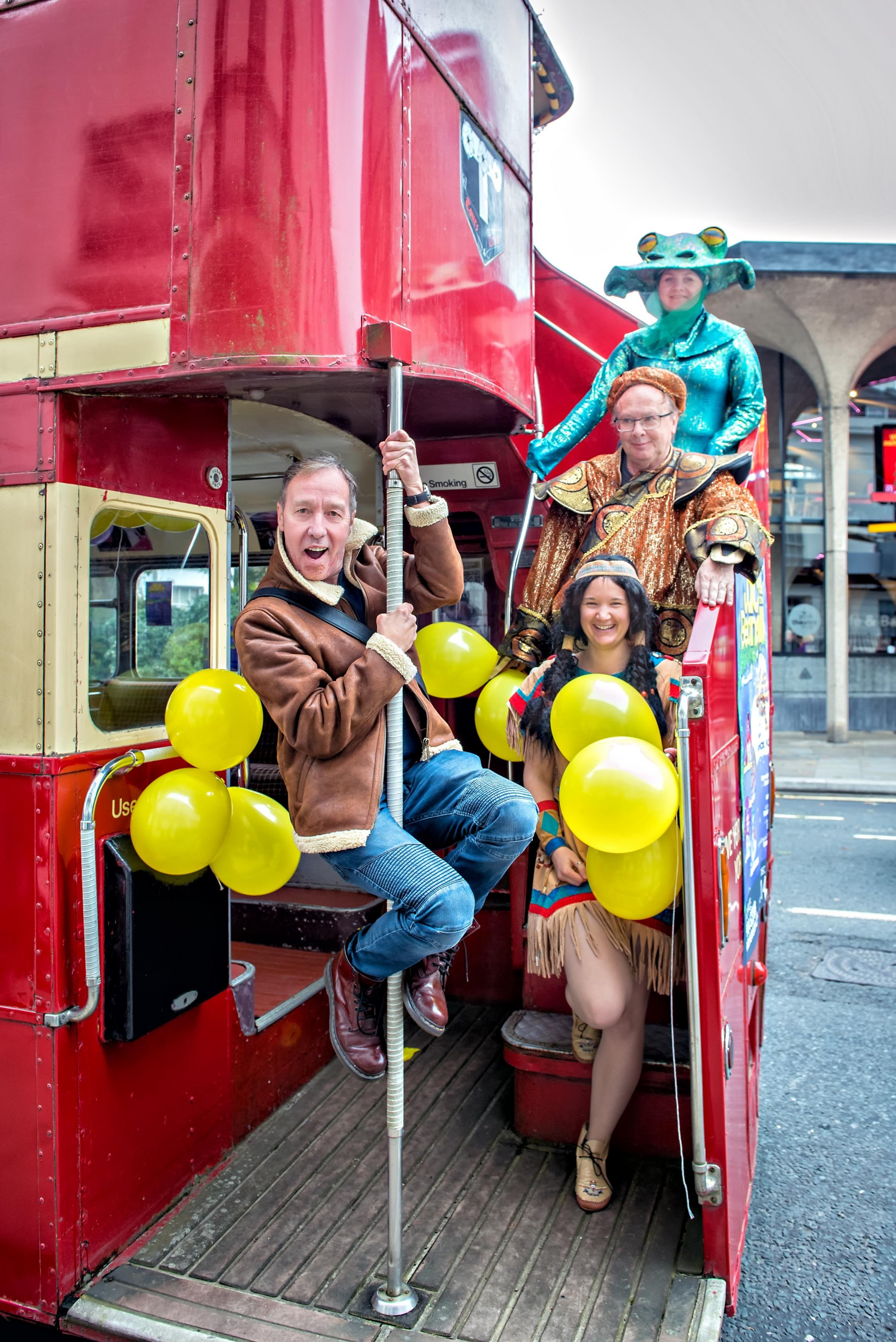 Martin Barrass and fellow panto cast members at the launch of York Theatre Royal's pantomime Jack & the Beanstalk launch. Picture by Anthony Robling