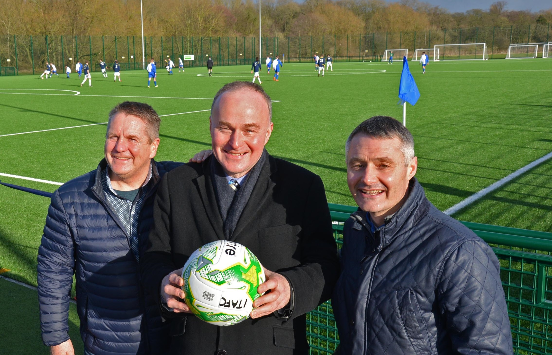 John Grogan, MP for Keighley and Ilkley, with IlkleyFC's club president Richard Giles and former Bradford City player John Hendrie.