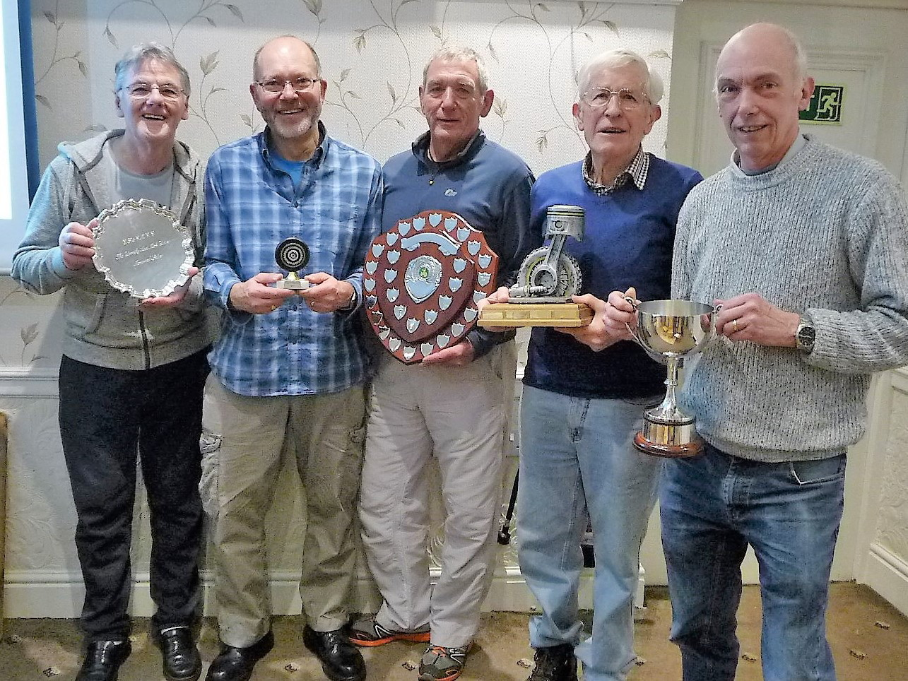 Girder Fork and Classic Motorcycle Club prizewinners, from left, Maurice Owens, Keith Ruddock, Alan Ralph, Brian Sanderson and Tim Ellis