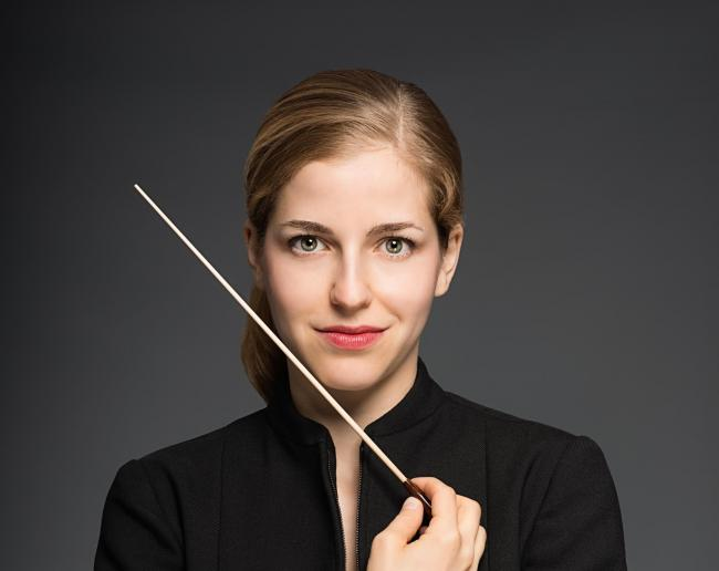 Karina Canellakis is conducting the Hallé in its latest concert at Leeds Town Hall. Picture by Masataka Suemitsu