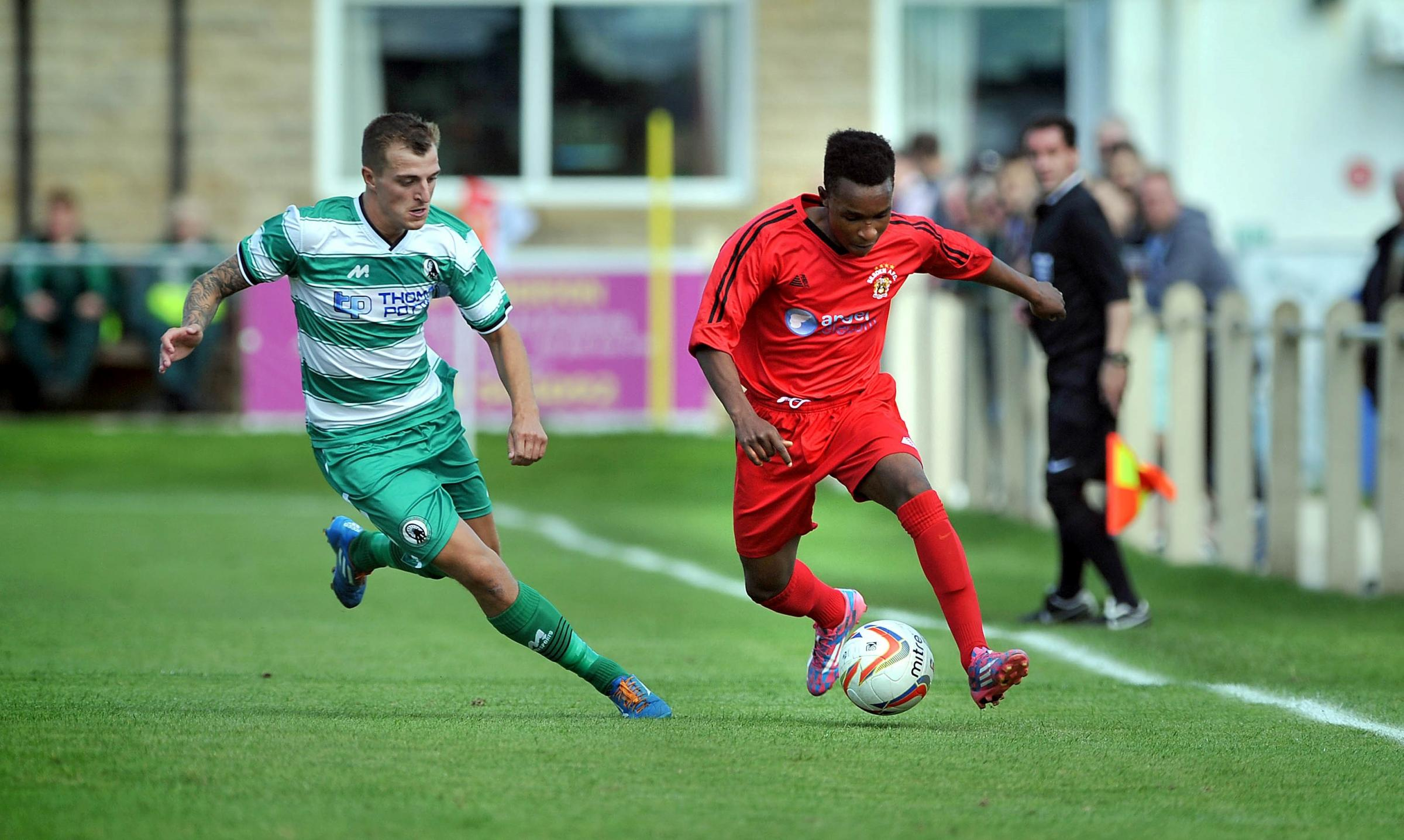 Talent Ndlovu, right, was on target for Thackley Under-21s