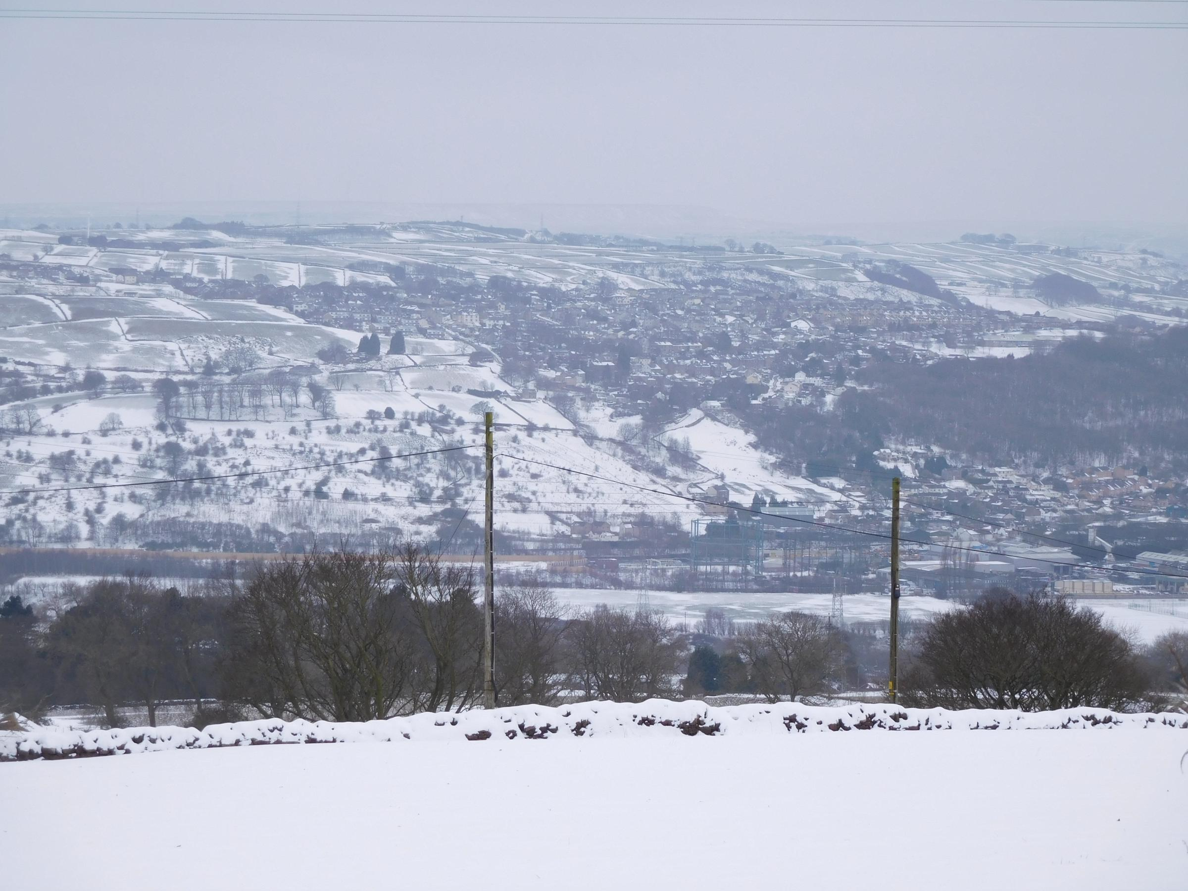 A view across the valley towards Long Lee and Thwaites Brow, during last week's snowy weather