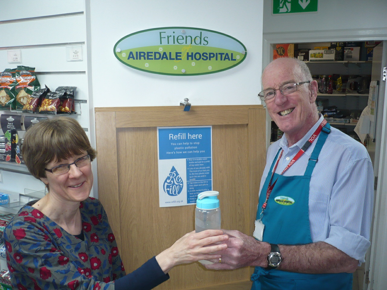 Helen Roberts, patient information officer at Airedale NHS Foundation Trust, with volunteer Mike Cluett