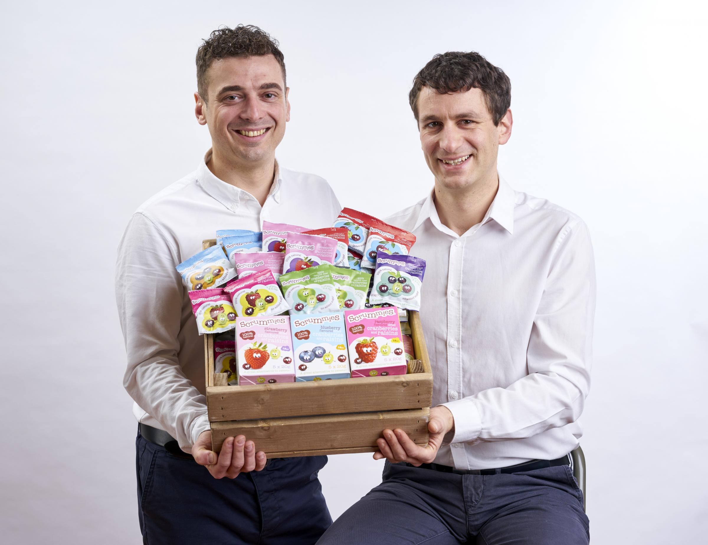 Rick Wadsworth and James Feddo with some of the Scrummies made by their company Clearly Scrumptious