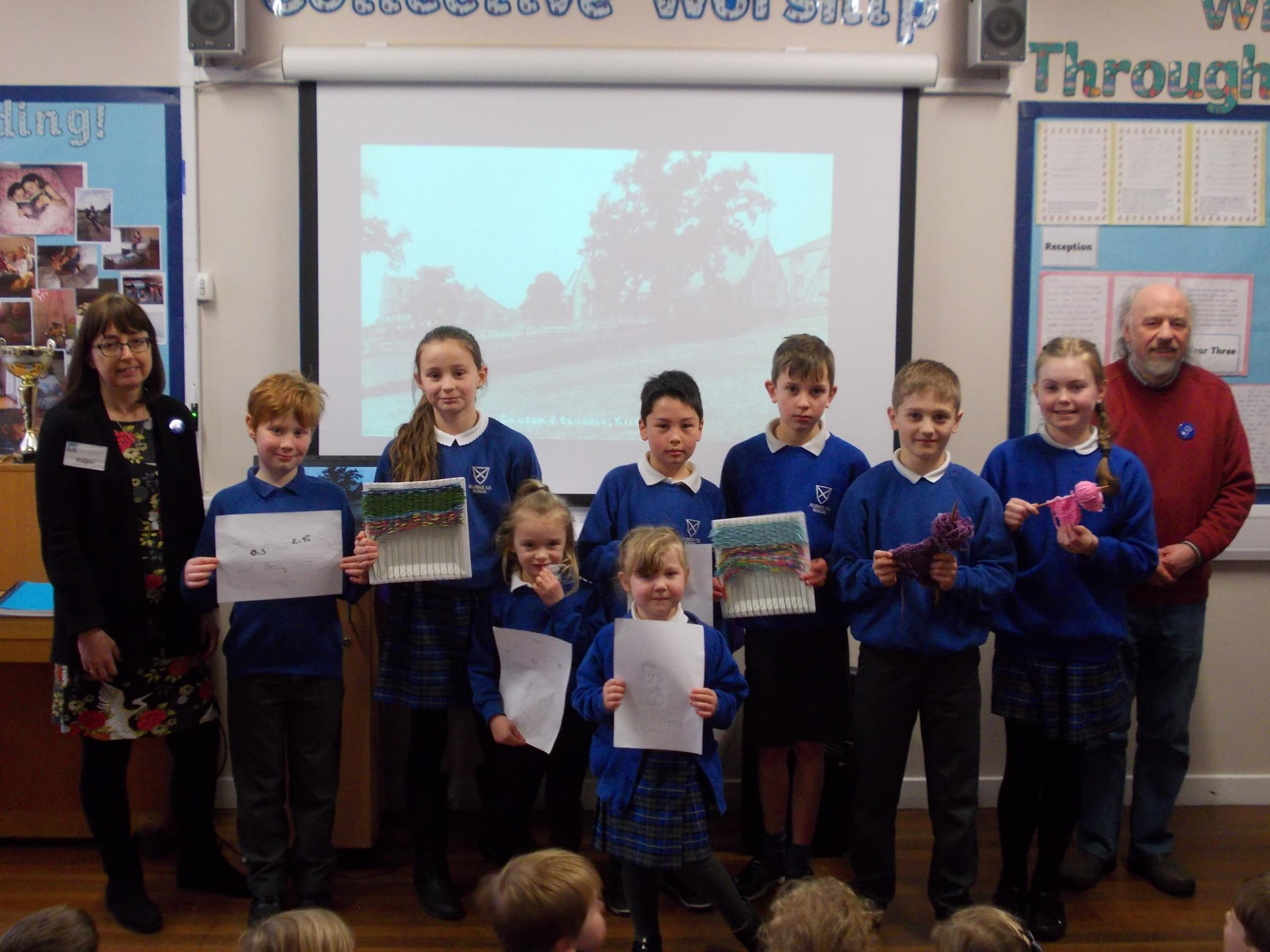Local historians Graham Taylor and Helen Moran visited Kildwick Primary School to talk about the Kildwick and Farnhill Volunteers Project