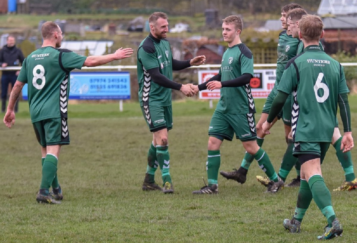 Steeton players celebrate one of their goals against Littletown