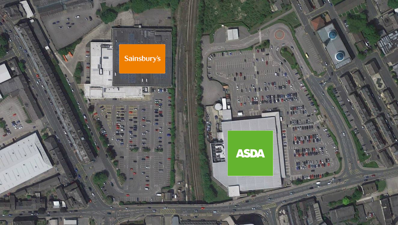 This image shops the proximity of the Asda and Sainsbury's stores in Keighley.