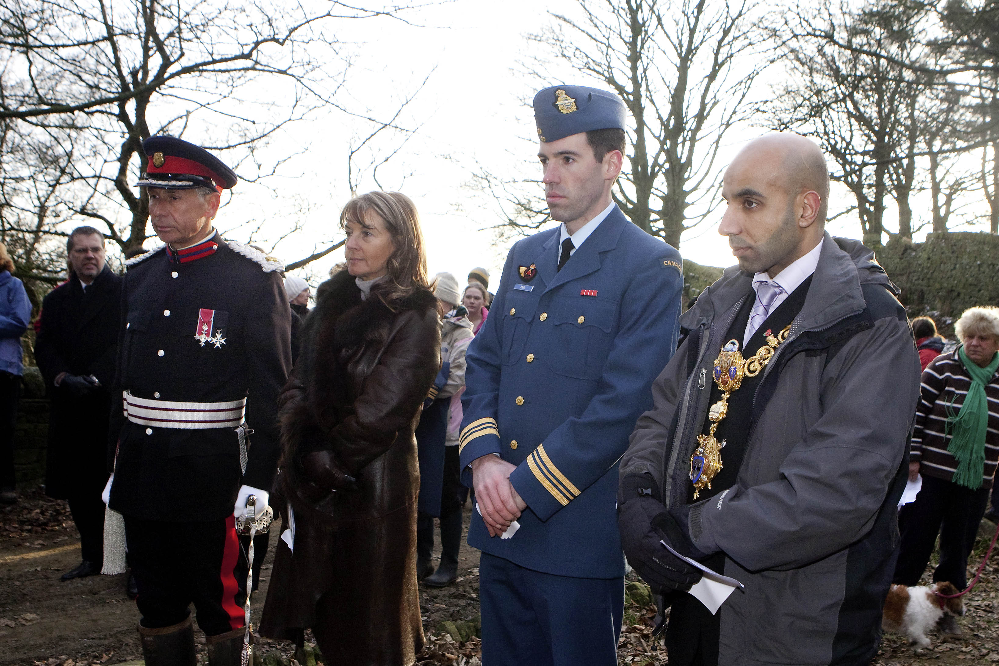 Picture shows Deputy Lord Lieutenant Richard Jackson, Elaine Jackson, Major Claude Paul of theCanadian Air Force, and town mayor Amjad Zaman