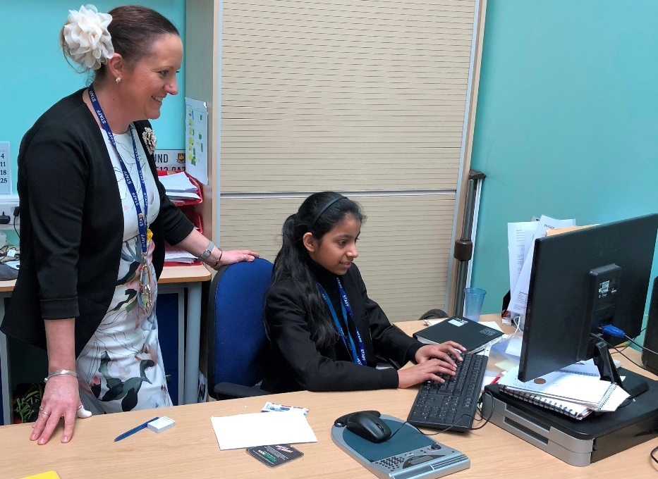 From left, assistant principal for science Toni Dolan with pupil Safiya Ahmed during the work experience day at UAK