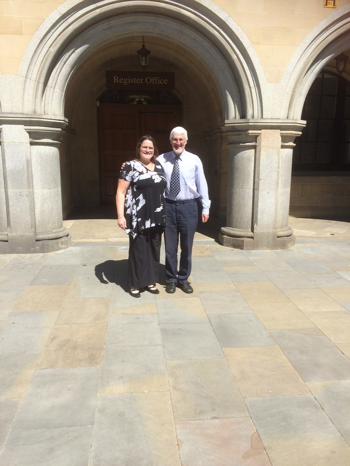 Keighley West ward councillor Cath Bacon with David Wilkinson, one of the people who objected to the plans for the Holme Mill site, outside Bradford City Hall.