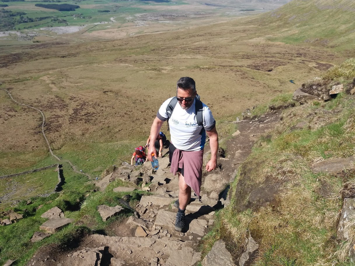 Tackling an ascent during the challenge in aid of Manorlands