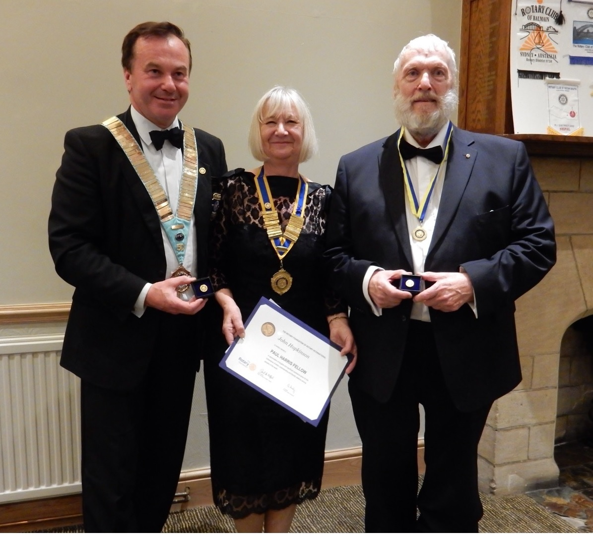 John Hopkinson, right, with Rotary district governor Robert Morphet and club president Chris Bown